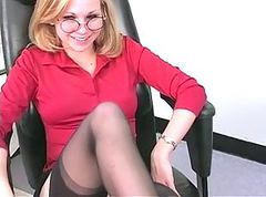 Blonde, Office, Son watches mom stripping