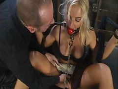 Bus, Blonde, Tied up and spanked