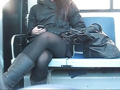 Bus, Upskirt, Black cheerleaders on bus