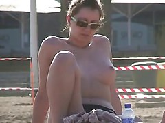 Public, Beach, Big tit cougar in public