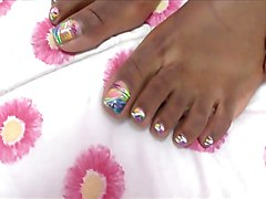 Ebony, Footjob, Footjob stockings
