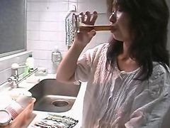 Asian, Gangbang, Mature kitchen