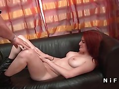 Bus, French, Busty redhead goddess loves anal
