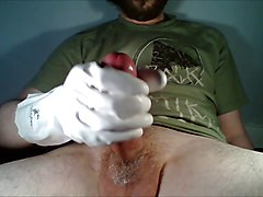 White lace gloves handjob audition