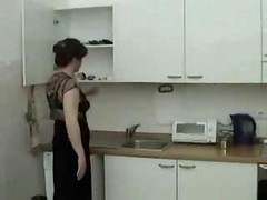 Kitchen, Mom, Horny wife gets some in kitchen