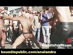Anal, Public, Old man fuck tied boy