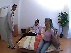 Teen, Stockings, Husben an wife in foursome