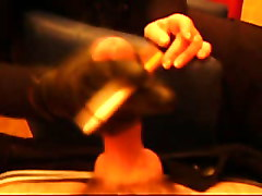 Smoking, Leather, Leather gloved smoking handjob