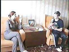 Russian, Milf, Two milf seduce boy