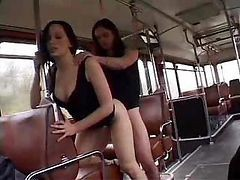 Bus, French, School girls in bus