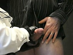 Leather, Gloves, Rubber gloved handjob