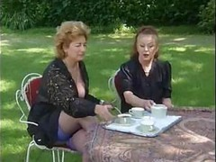 Granny, Two grannies take tea and cock