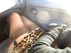 Car, Stockings, Gangbang stocking