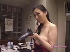 Asian, Lingerie, Busty asian with huge dark nipples