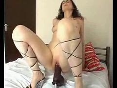 Wife, Dildo, Big brutal huge dildo