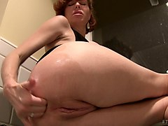 Kitchen, Milf, Hot busty milf helps the young boy