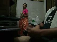 Handjob, Maid, Maid watching man