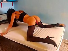 Black, Panties, Pantyhose dressing masturb