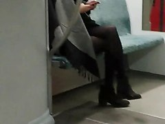 Asian, Train, Caught flashing on the train