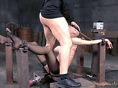 Blonde, Machine, Legs are tied up and spanked