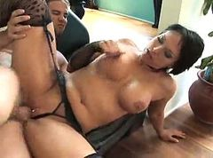 Bus, Stockings, Dildo fucking black milf in ass
