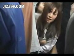 Asian, Bus, Dickng in crowded bus