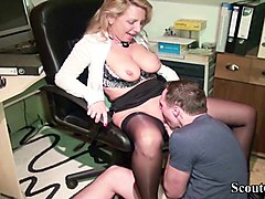 Office, German, Dominant milf seduce innocent boy