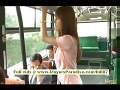 Asian, Bus, Fucked in bus infront of