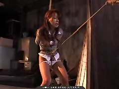Asian, Bus, Skinny girl tied up
