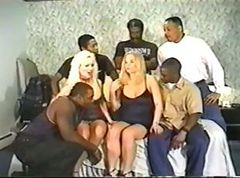 Gangbang, Interracial, Mature interracial