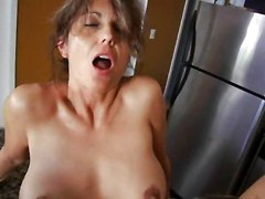 Kitchen, Milf, Busty milf fucking in the rain