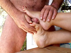 Footjob, Threesome party drunk