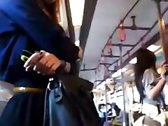 Bus, Touch dick woman in bus train