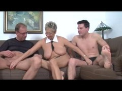 German, Threesome, German mature and girl
