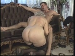 Granny, German, Group orgy in boots